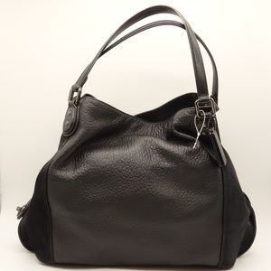 NWT COACH Edie 42 Black Mixed Leather Shoulder Bag